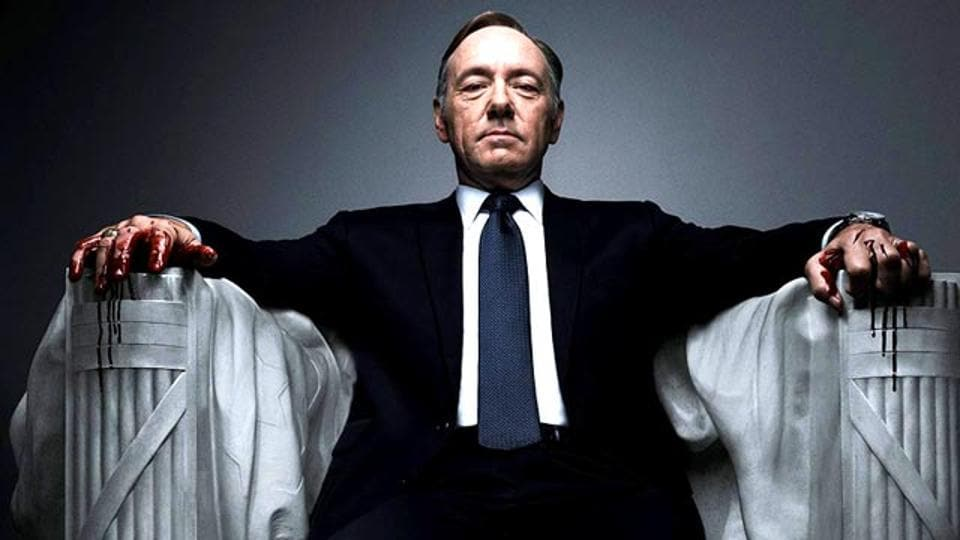 Kevin Spacey as Frank underwood in the TV series House of Cards.