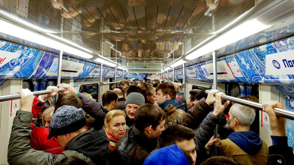 People ride the metro train during rush hour in Moscow.  (REUTERS)