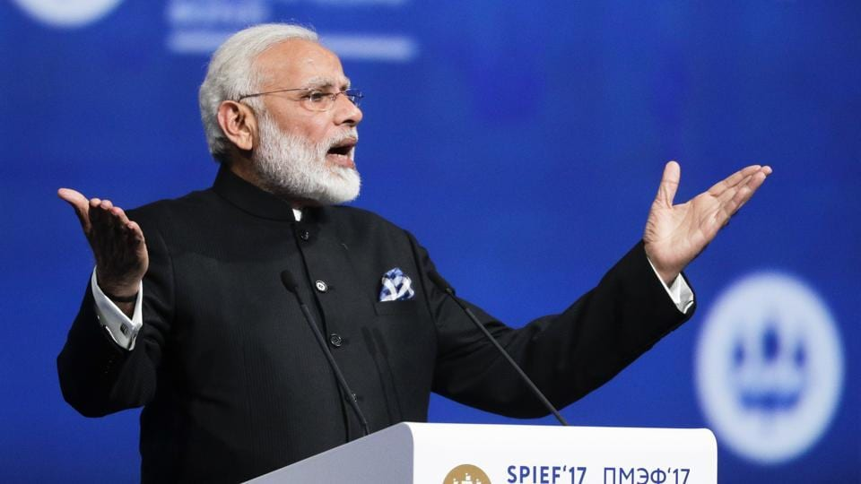 Prime Minister Narendra Modi addresses the St. Petersburg International Economic Forum in St.Petersburg, Russia.