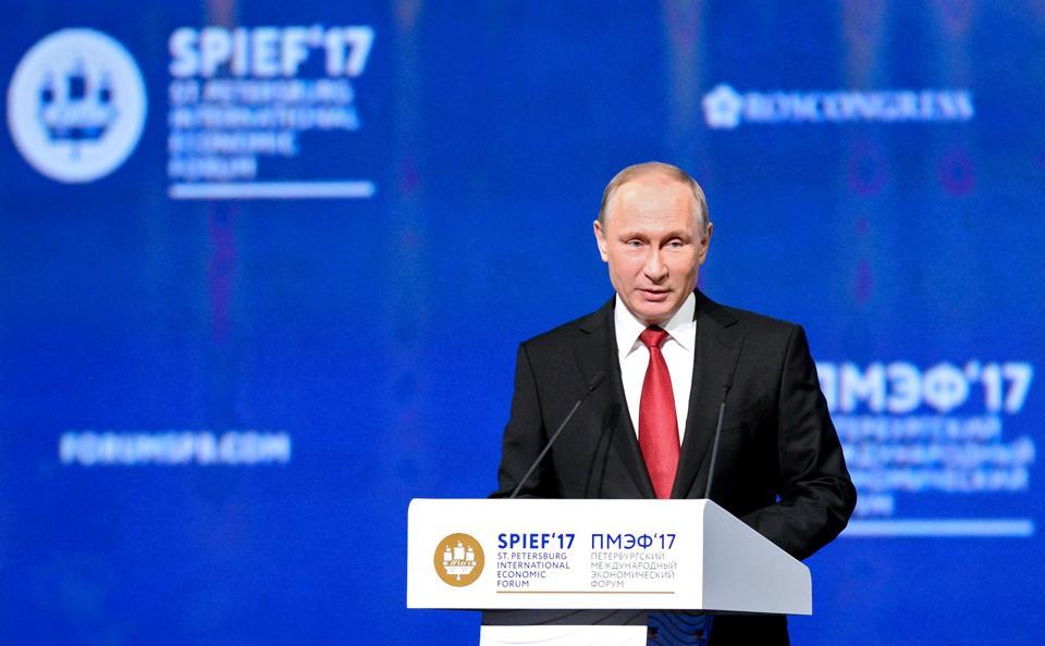 Vladimir Putin during a session of the St Petersburg International Economic Forum.