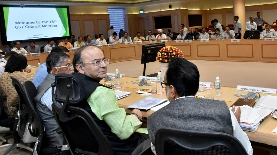 Union finance minister Arun Jaitley with MoS Santosh Gangwar and revenue secretary Hasmukh Adhia at the 15th Goods and Services Tax (GST) meeting in New Delhi.