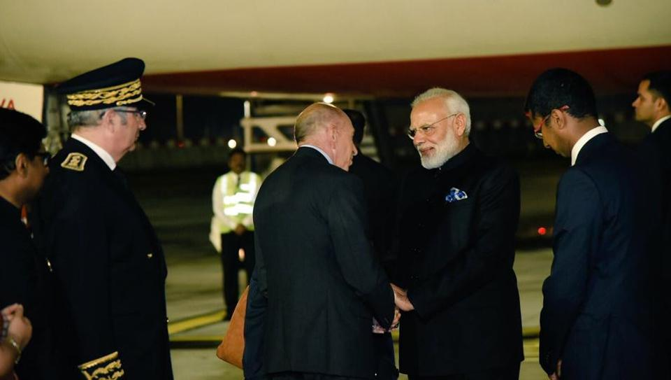 PM Narendra Modi greeted by French Interior Minister Gerard Collomb upon his arrival at Orly Airport in Paris on Saturday morning.