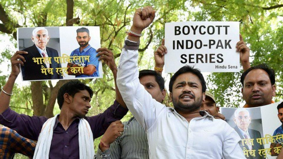 Workers of the Hindu Sena workers on Saturday protested the Indian cricket team playing against Pakistan at the 2017 ICC Champions trophy.