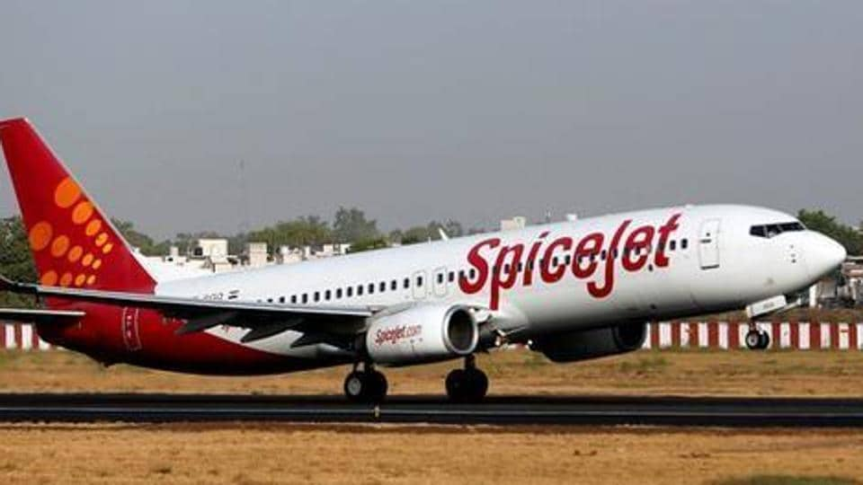 A SpiceJet passenger aircraft takes off from Sardar Vallabhbhai Patel international airport in Ahmedabad.