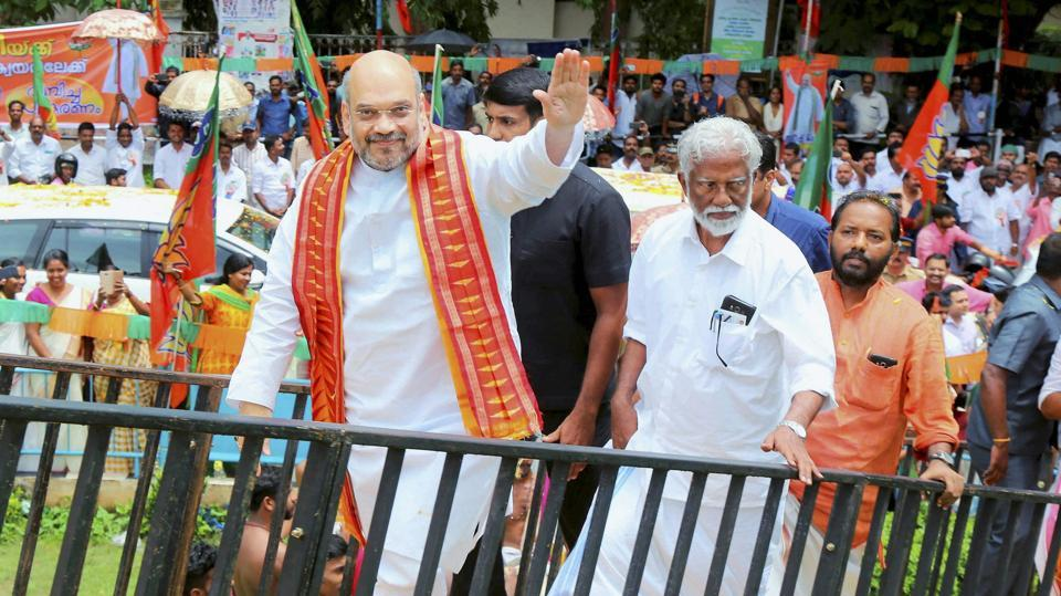 BJP president Amit Shah arrives to pay floral tribute to great social reformer Shri Ayyankali ji's statue at Trivandrum on June 3.