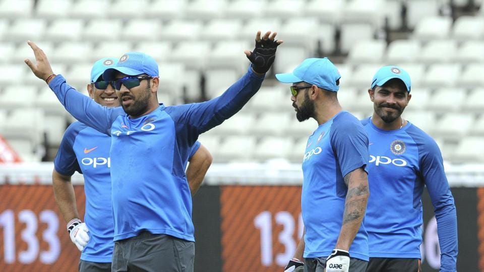 Indian cricket teams Rohit Sharma and skipper Virat Kohli (2nd right) during a practice session ahead of their ICC Champions Trophy Group B match against Pakistan cricket team at Edgbaston in Birmingham, England, on Saturday.