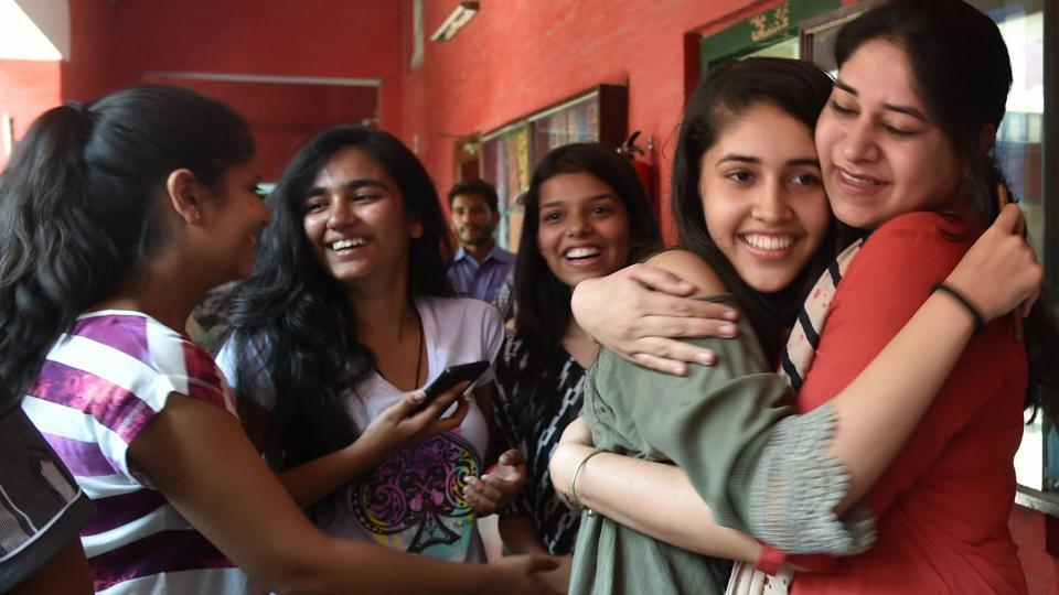 Students of St Thomas school celebrating after the CBSE class 10 results were announced on June 3.