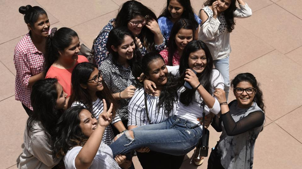 New Delhi, India - May 28, 2017: Students of St Thomas School pose for photos and celebrate after the class 12th CBSE result at their school in New Delhi, India, on Sunday, May 28, 2017. (Photo by Saumya Khandelwal/ Hindustan Times)