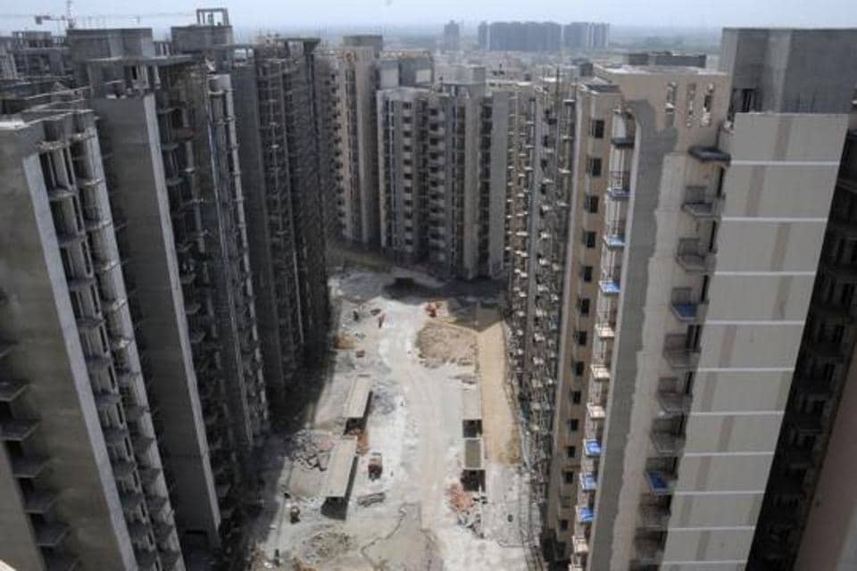 Under construction buildings in Gurgaon.