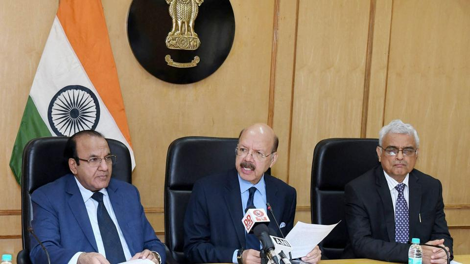 Chief Election Commissioner Nasim Zaidi along with Election Commissioners, A.K. Joti and O.P. Rawat addressing a press conference on the conclusion of EVM challenge in New Delhi on Saturday