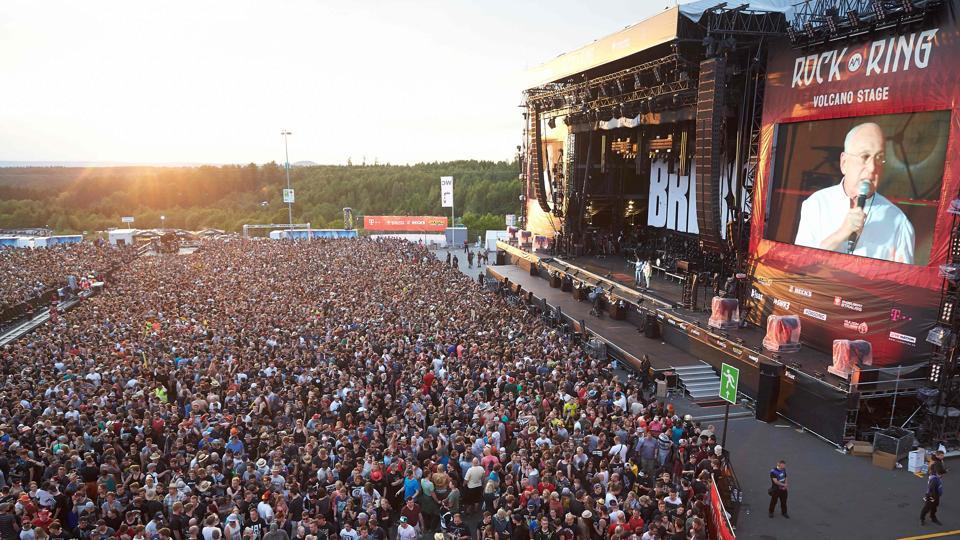 Festival organiser Marek Lieberberg announces the suspension of the program and asks revellers to leave the venue of the Rock am Ring music festival in Nuerburg, western Germany following an evacuation alert amid security concerns.