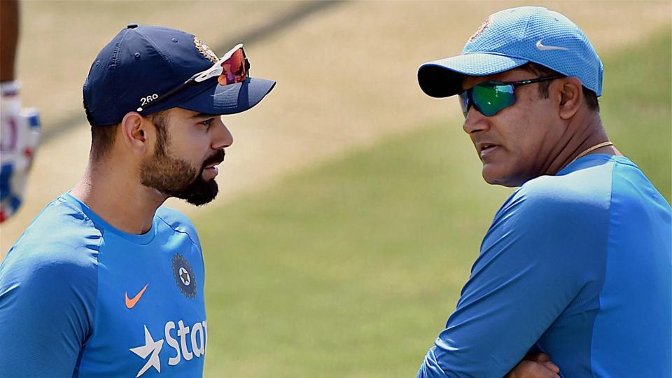 Media reports claim there has been a rift between Indian cricket team captain Virat Kohli (L) and coach Anil Kumble.