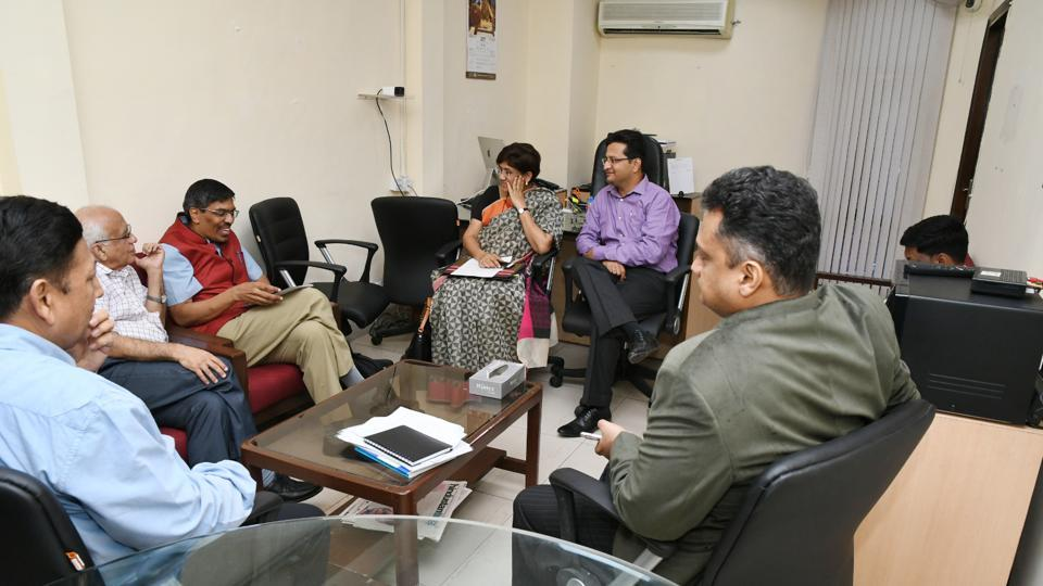 An NCP delegation interacts with members of EC's technical expert committee at an event organised for parties to prove that EVMs can be hacked into.