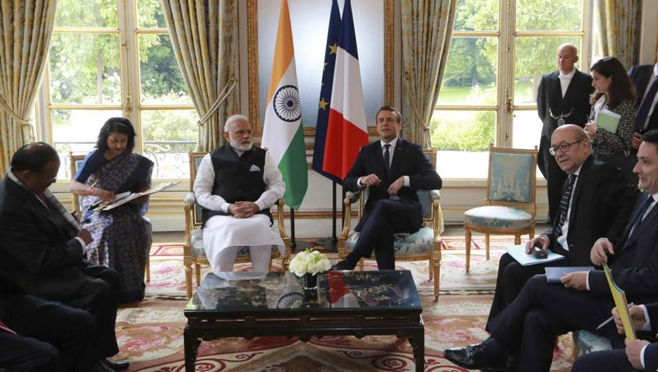 Prime Minister Narendra Modi holds talks with French President Emmanuel Macron at the Elysee Palace in Paris on Saturday.