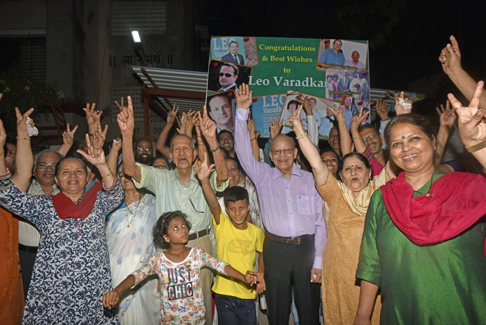 Manohar Varadkar (in green shirt) and family members celebrate Leo Varadkar's victory at Borivli  on Friday.