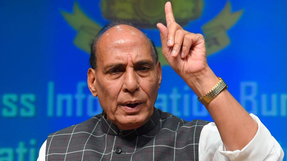 Union home minister Rajnath Singh addresses a press conference highlighting the NDA government's achievements during its three years in power, in New Delhi on Saturday.