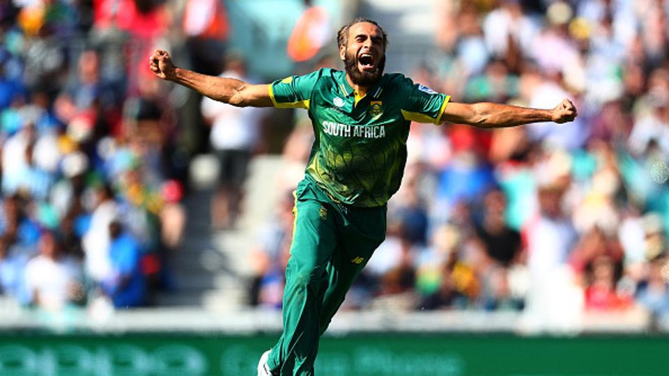 Imran Tahir, introduced into the attack in the 17th over, struck immediately as he removed Chamara Kapugedera for a golden duck.  (Getty Images)