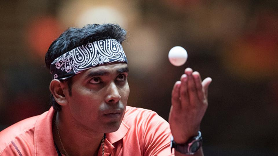 Achanta Sharath Kamal in action at the 2017 World Table Tennis Championships in Dusseldorf.