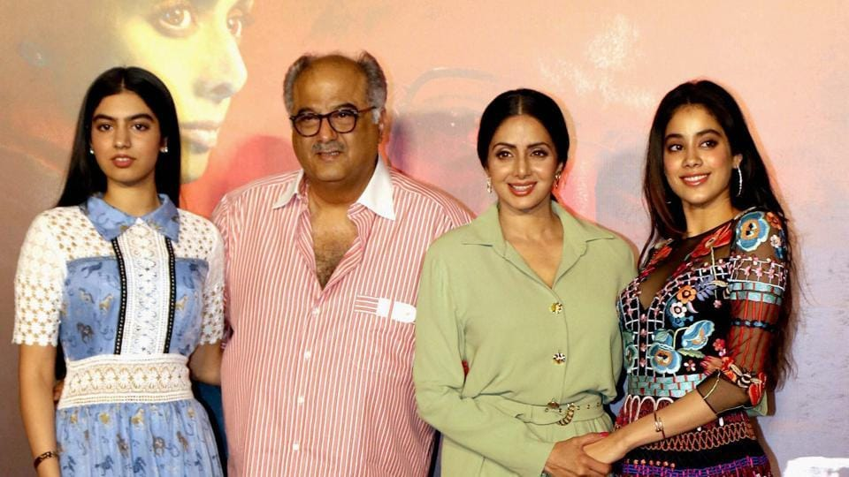 Sridevi with her husband Boney Kapoor and daughters Jhanvi Kapoor and Khushi Kapoor pose for a photograph during the trailer launch of upcoming Hindi film Mom.