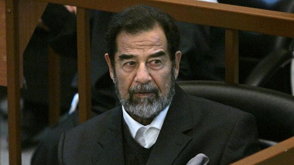 Former Iraqi dictator Saddam Hussein at his trial in Baghdad in 2005.