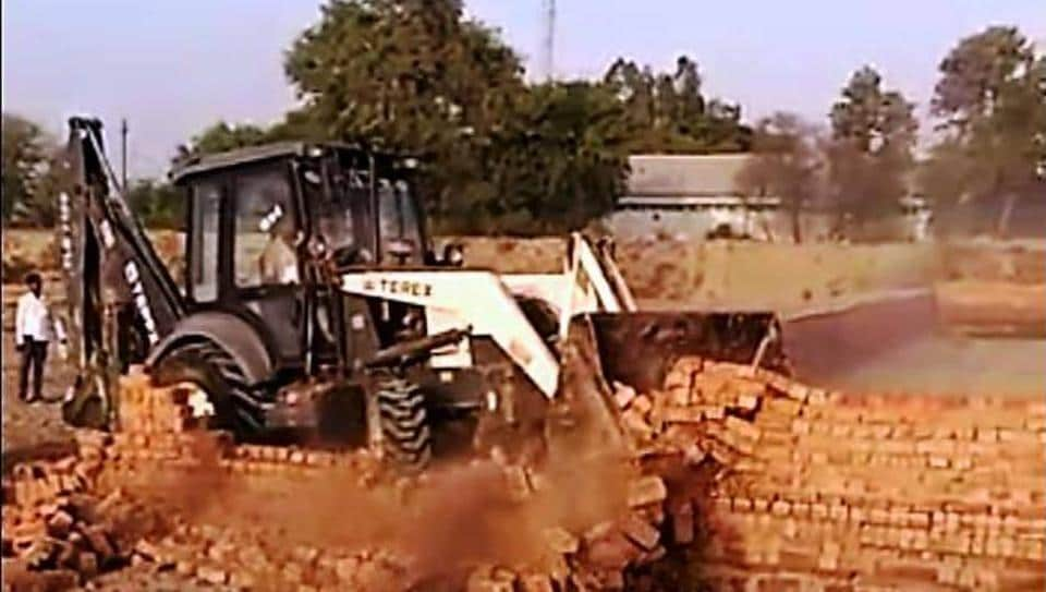 Bathinda deputy commissioner (DC) and Wakf Board officials ordered the demolition drive under which the boundaries of the illegal plots were razed.