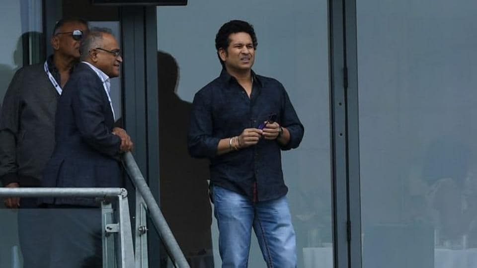 Sachin Tendulkar is pictured in Edgbaston during the India vs Pakistan match in the ICC Champions Trophy.