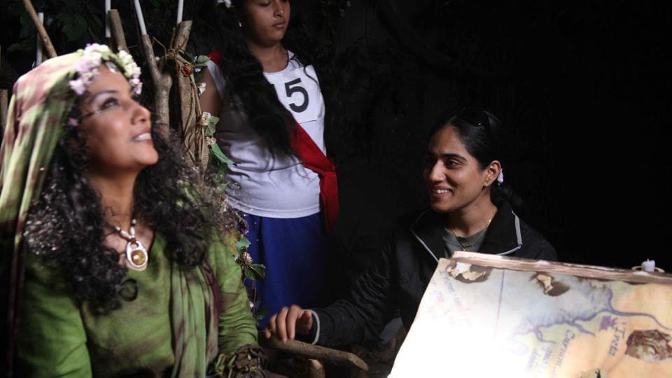 Actor Shabana Azmi  (left) on the sets of The Wishing Tree with director Manika Sharma (right).