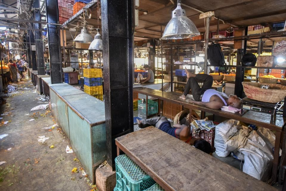 A seller takes a nap at Dadar flower market, which is experiencing a paucity of supply owing to the farmers' strike.