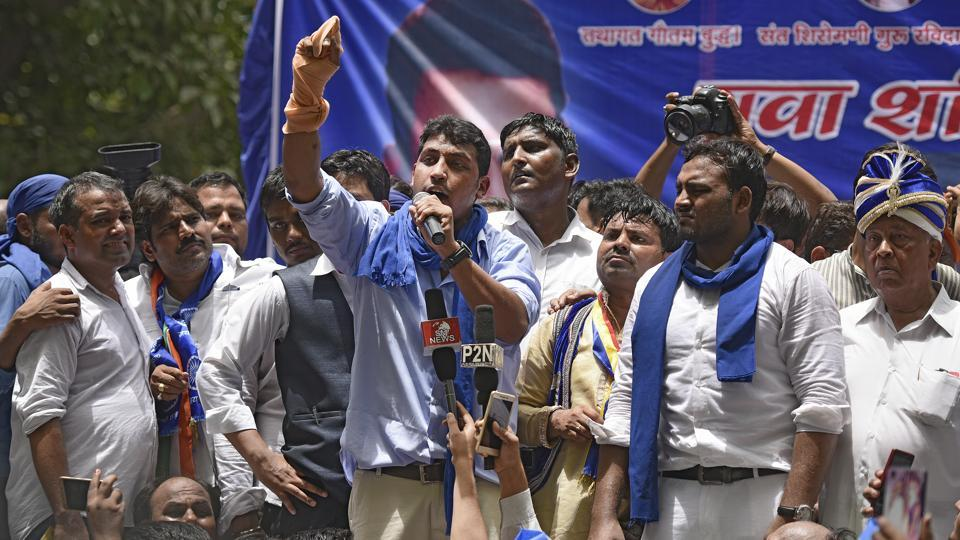 File photograph of Bhim Army founder Chandrashekhar  at a protest rally at Jantar-Mantar in New Delhi  on  May 21.