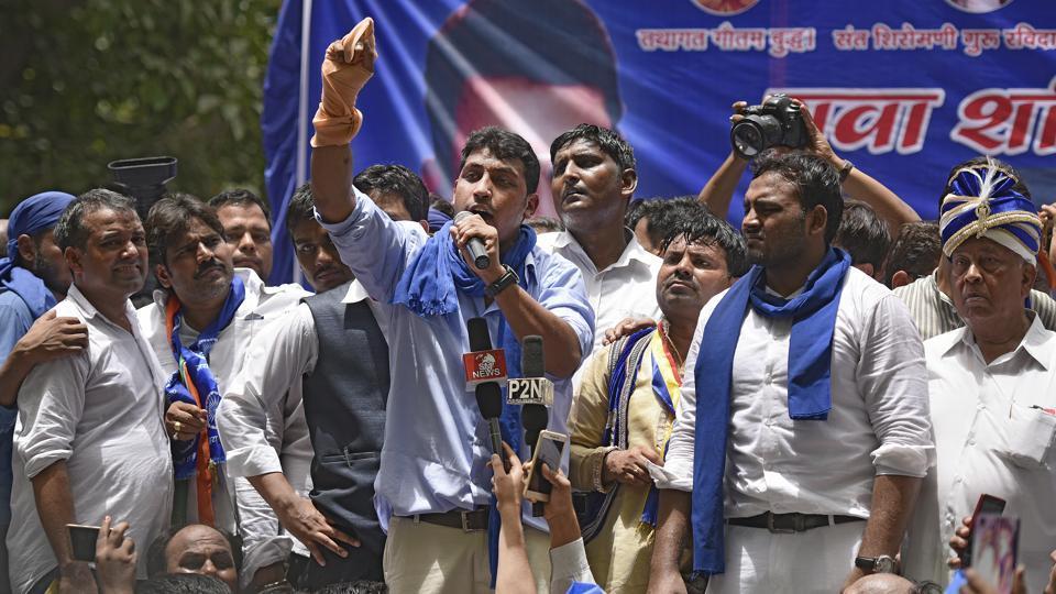 File photograph of Bhim Army founder Chandrashekhar  at a protest rally at Jantar-Mantar in New Delhi  on  May 21.