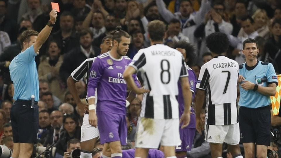 Juventus' Juan Cuadrado was harshly sent off for a nudge on Sergio Ramos. (AP)