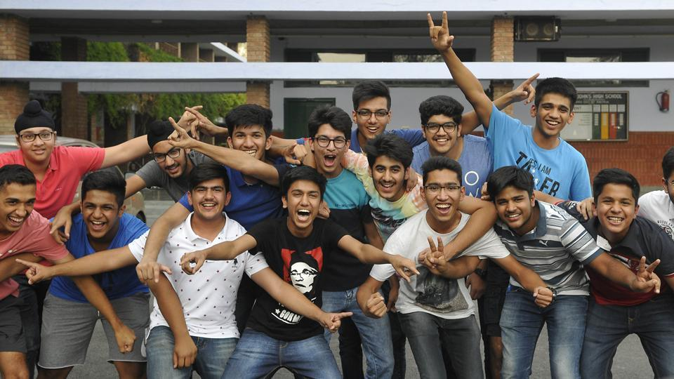 Students celebrating after CBSE Class 10 result in Chandigarh.
