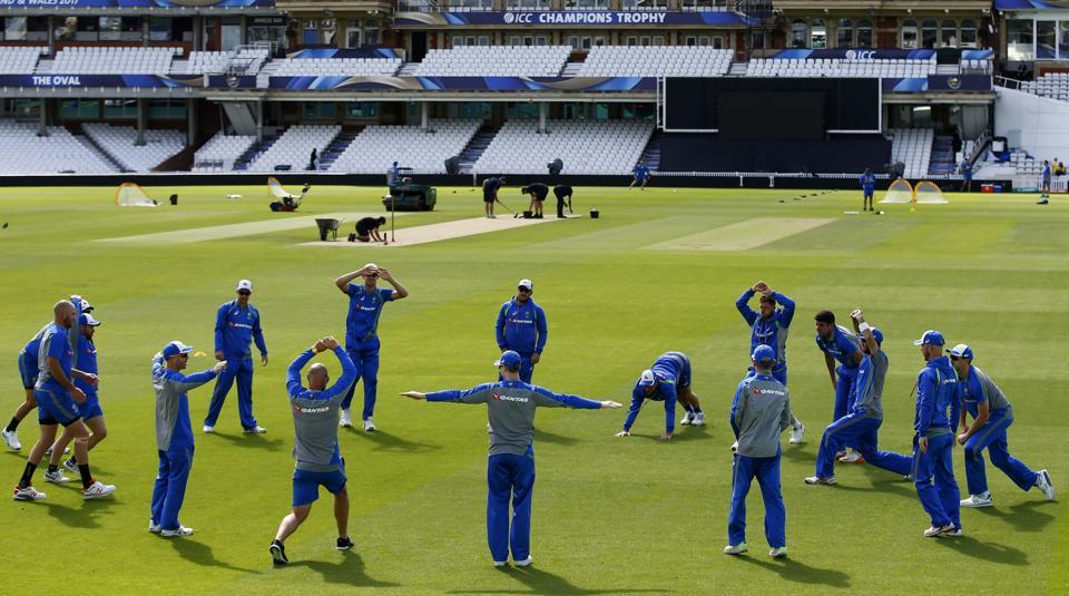 Australian Cricket Team during a practice session ahead of their ICC Champions Trophy 2017 match against Bangladesh.