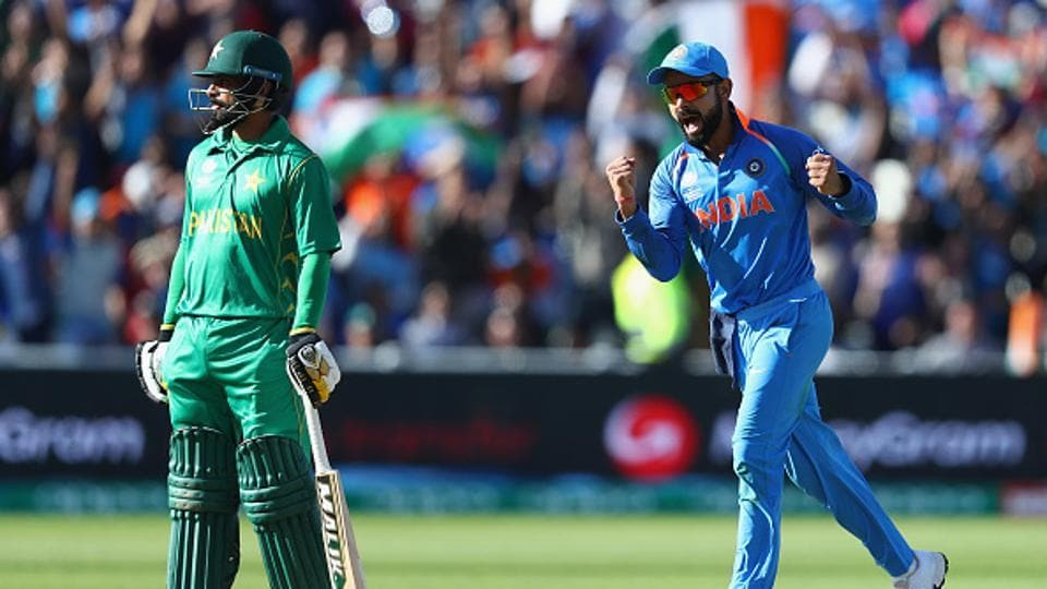 Virat Kohli celebrates as Ravindra Jadeja takes the wicket of Azhar Ali during the ICC Champions Trophy match between India and Pakistan at Edgbaston. Catch full cricket score of India vs Pakistan here