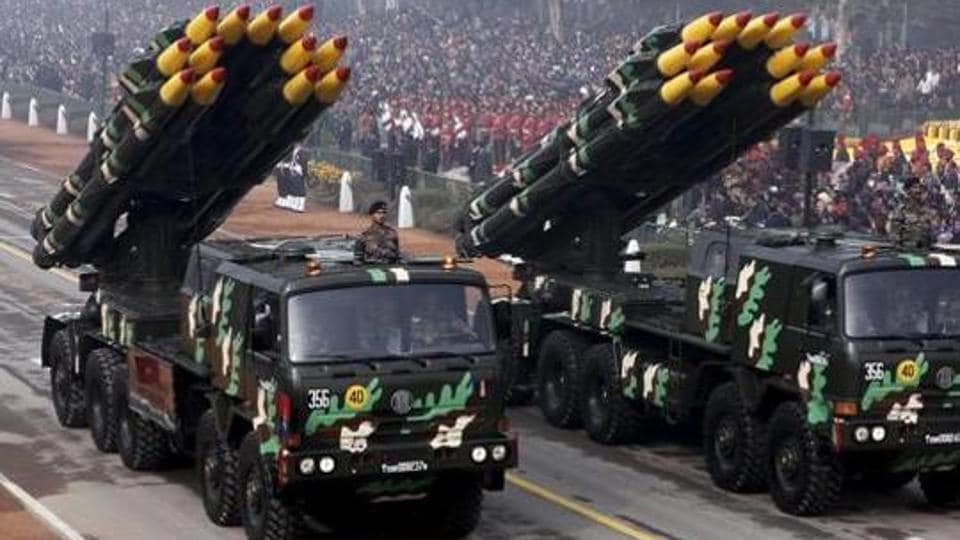 Vehicles displaying missiles during the Republic Day parade in New Delhi.