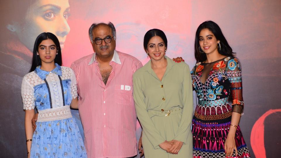 Sridevi and producer Boney Kapoor along with their daughter Khushi Kapoor and Jahnavi Kapoor.