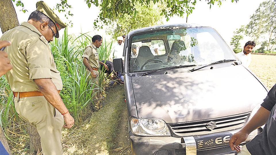 The car in which the eight family members were travelling to Bulandshahr from Jewar when they were robbed, four of them gang-raped and one man shot dead by armed assailants.