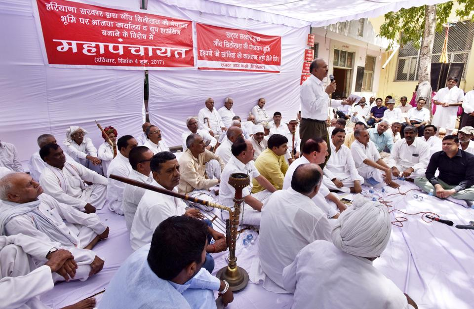 The residents of Silokhra and 36 other villages held a panchayat on Sunday opposing the Huda's plot allotment for setting up the BJP party office.
