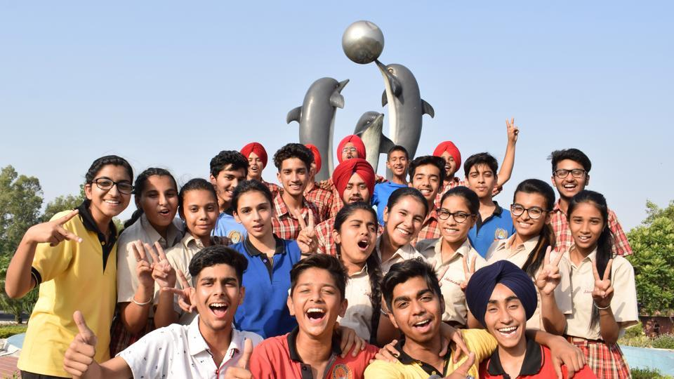 Students in a jubilant mood after Class 10 results.