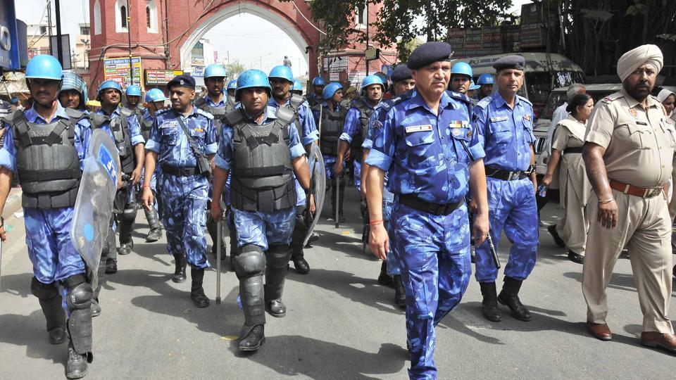 Paramilitary and police personnel on patrol near Hall Gate in Amritsar on the eve of Operation Bluestar's anniversary on Monday, June 5.