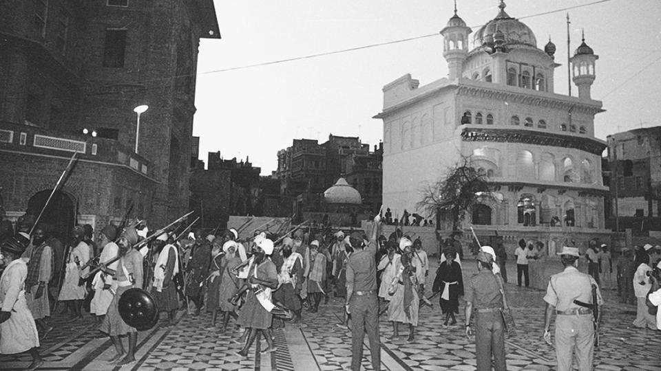 Bhindranwale, believed to be a proponent of the Khalistan state took refuge in the Harmandir Sahib complex with his armed supporters and pilgrims gathered to celebrate the martyrdom anniversary of Guru Arjan Singh on June 3rd, 1984.  (SN Sinha/ht photo)