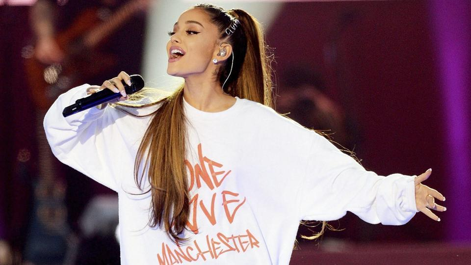 Ariana Grande performs at the One Love Manchester tribute concert in Manchester.