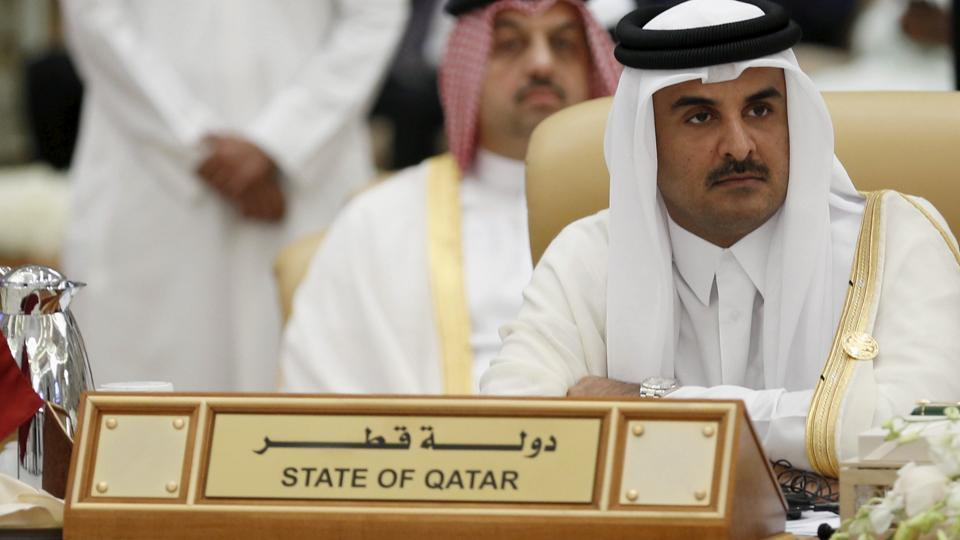 The Emir of Qatar Tamim bin Hamad al-Thani attends the final session of the South American-Arab Countries summit, in Riyadh November 11, 2015.  Saudi Arabia, Bahrain, Egypt and UAE on June 5, 2017, cut  diplomatic ties to Qatar amid a deepening rift between Gulf Arab nations.