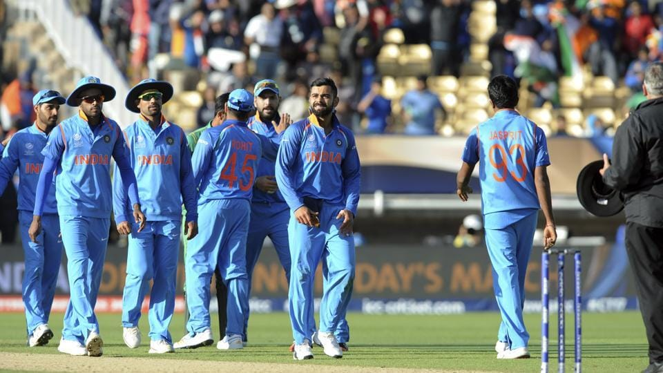 Indian cricket captain Virat Kohli leads his team off the field after beating Pakistan in the ICC Champions Trophy 2017 match at Edgbaston in Birmingham on Sunday.