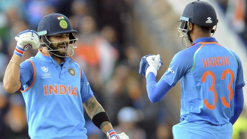 Hardik Pandya (R) hit three sixes in a row in the final over as India posted a formidable total of 319/3 in 48 overs. (AP)