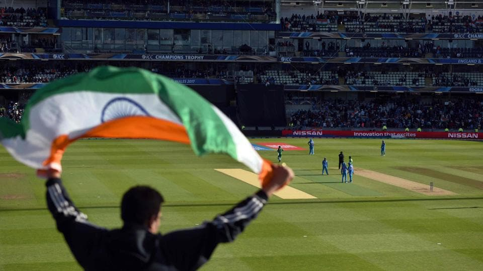 India cricket fans were present in numbers to cheer their side on Sunday. (AFP)