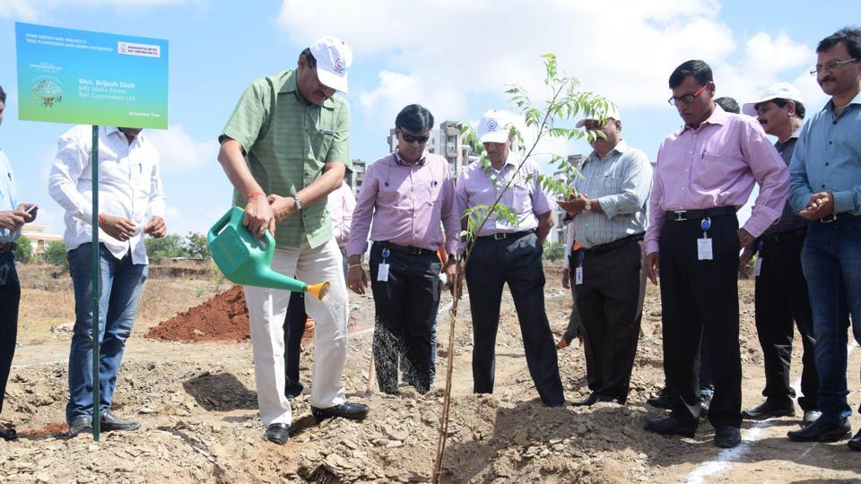 Tree plantation during a special function being organized on World Environment Day, to share information about various environment friendly initiatives that would be undertaken during the development of Pune Metro.