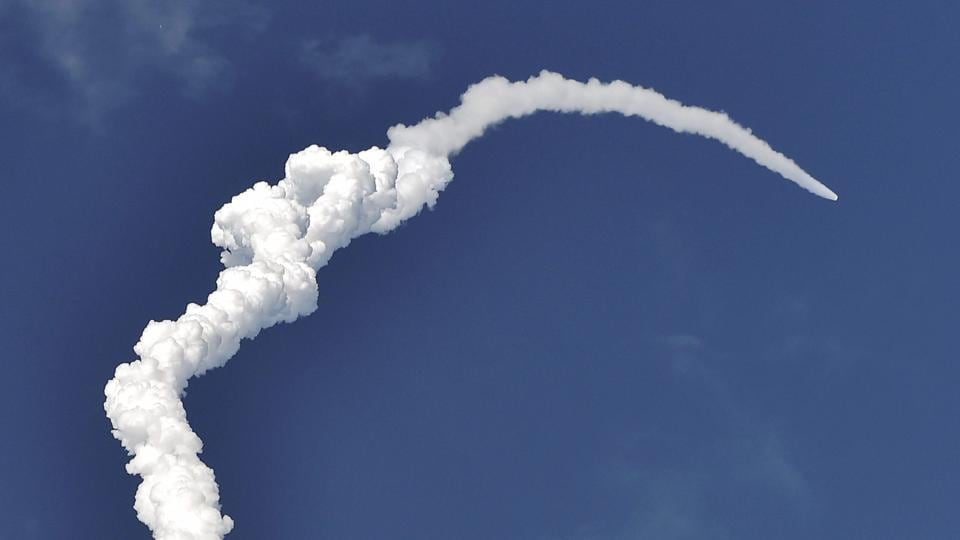 ISRO's heaviest rocket GSLV Mk-III carrying communication satellite GSAT-19  blasts off from Satish Dhawan Space Centre in Sriharikota on June 5.