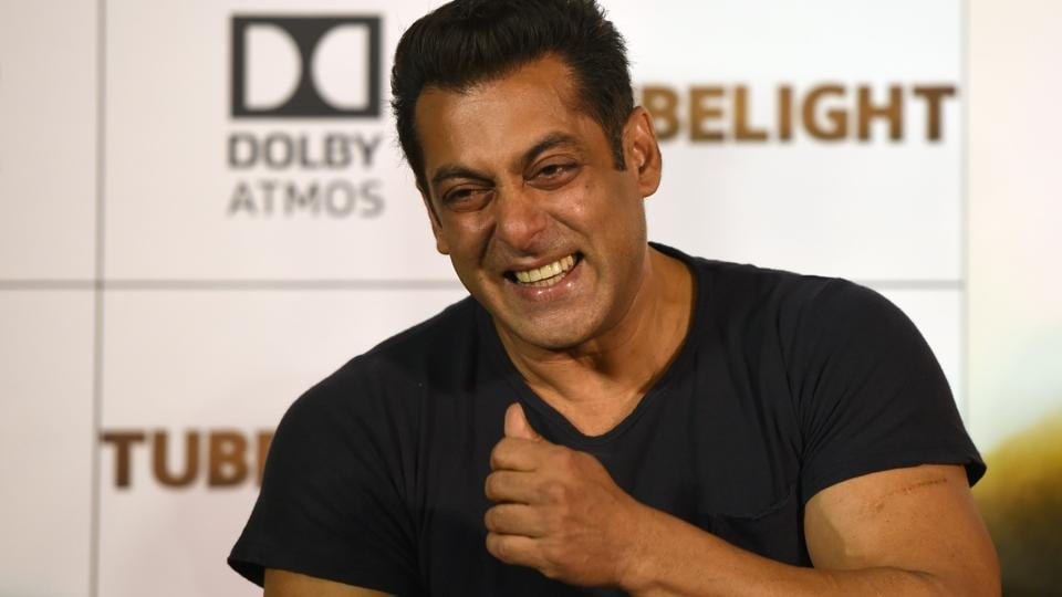 Salman Khan smiles while addressing a news conference to release a trailer of his new film Tubelight in Mumbai.