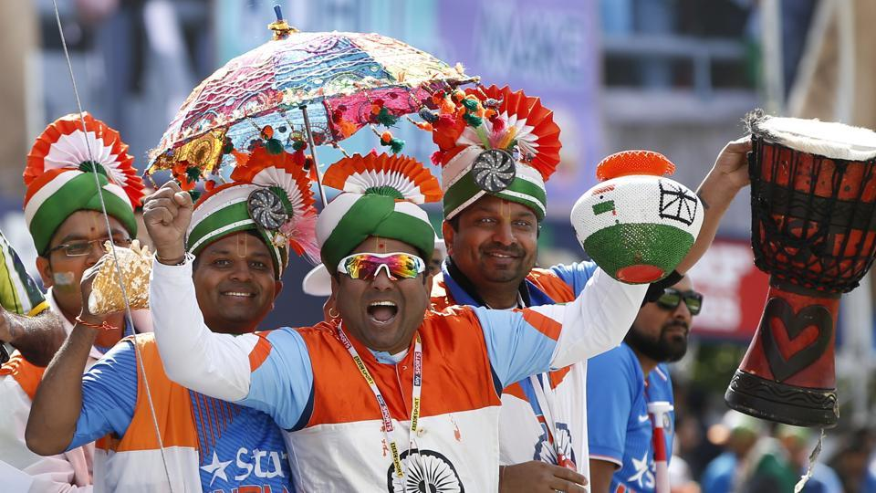 Indian fans celebrate during the match. (REUTERS)
